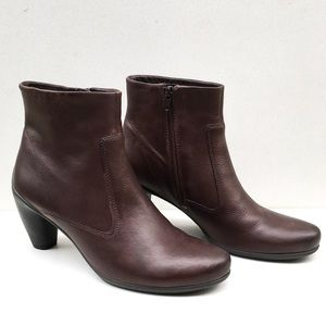 Ecco Mocha Brown Leather Ankle Booties Size 41